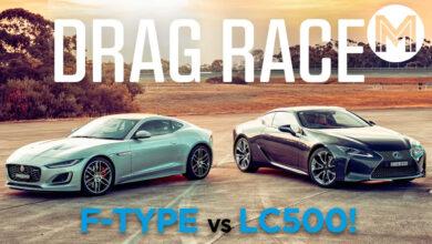 Lexus LC500 vs Jaguar F Type 390x220 - درگ دلنشین لکسس LC 500 و جگوار اف تایپ در غروب آفتاب!