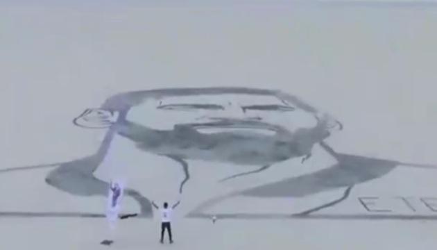 43468 611 - پیاده سازی چهره لیونل مسی توسط ابوالفضل نقشه بردار به وسعت ۵۰ در ۴۰ متر
