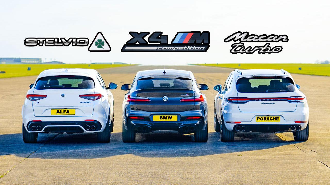 Alfa BMW Porsche 4 - درگ آلفارومئو استلویو QV، بامو X4 M و پورشه ماکان توربو
