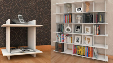 mdf bookcase 8 390x220 - قفسه کتاب ام دی اف - قفسه کتابی که به دلخواه شما تغییر می کند