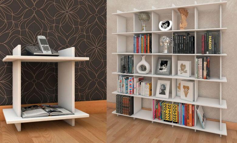 mdf bookcase 8 780x470 - قفسه کتاب ام دی اف - قفسه کتابی که به دلخواه شما تغییر می کند