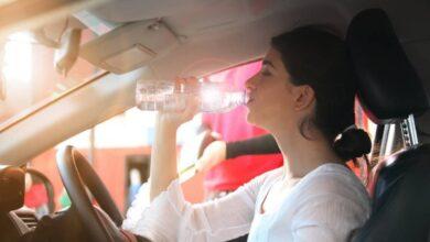 woman drinks water car thirsty 390x220 - تأثیر تشنگی رانندگان روی تصادفات جادهای