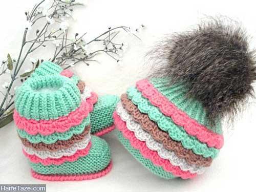 set kolah papoosh 1 - ست کلاه و پاپوش بافتنی نوزاد دختر